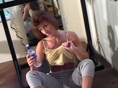 Red head mature working out