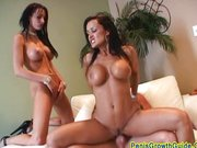 Lisa Ann ans busty friend have fun with cock